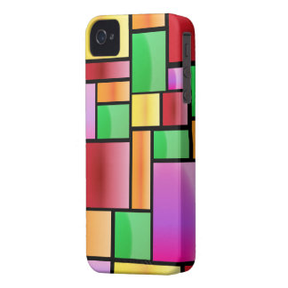 Bright Modern Abstract Rectangle Pattern iPhone 4 Cover