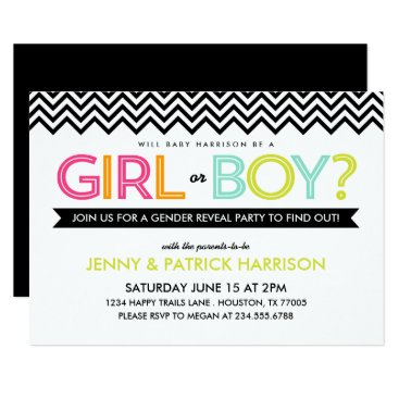 Toddler & Baby themed Bright Modern Chevron Baby Gender Reveal Party Card