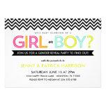 Bright Modern Chevron Baby Gender Reveal Party Custom Announcement
