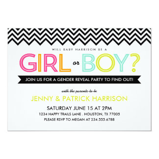 Bright Modern Chevron Baby Gender Reveal Party Custom Announcement
