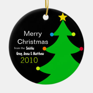 Bright & Modern Christmas Tree (Personalized) Ceramic Ornament