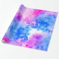 Bright modern hand painted pink blue watercolor wrapping paper