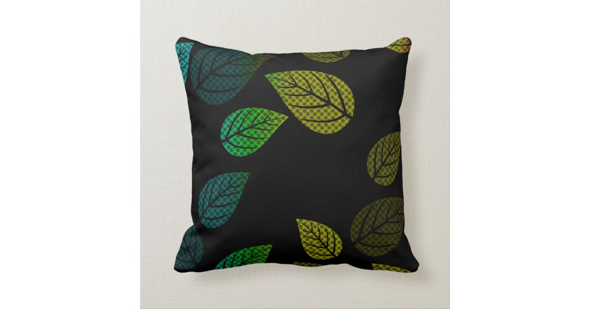 Modern Leaf Throw Pillow : Bright Modern Leaves Design Throw Pillow Zazzle