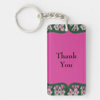 Bright Modern Pink Green Thank You Keychain