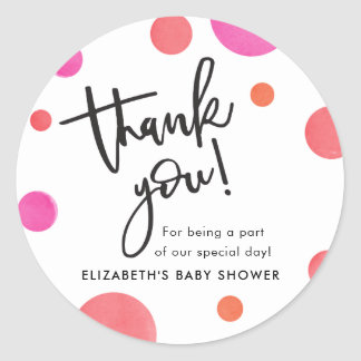 Bright Modern Polka Dot Baby Shower Thank You Classic Round Sticker