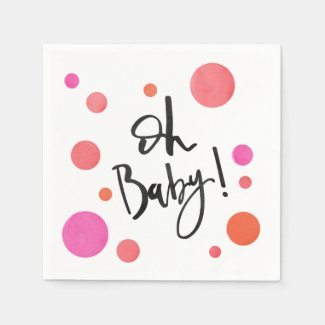 Bright Modern Polka Dot Girl Baby Shower Napkins