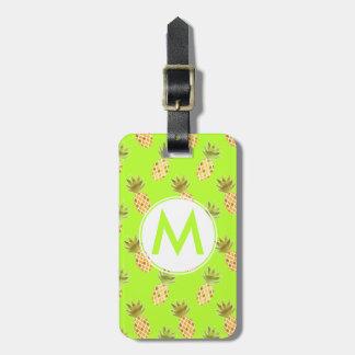 Bright Monogram Tropical Painted Pineapple Pattern Bag Tag