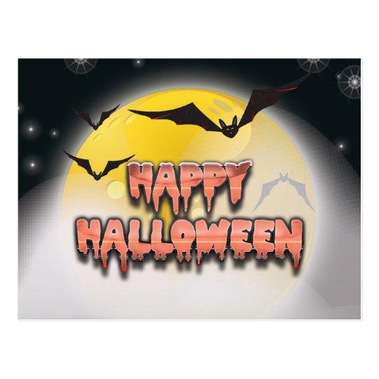 Bright Moon Happy Halloween Postcard