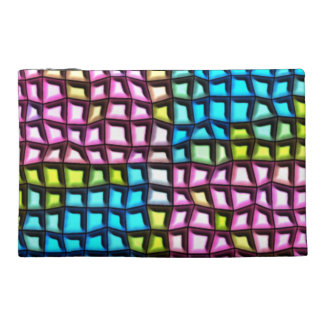 Bright mosaic pattern travel accessory bags