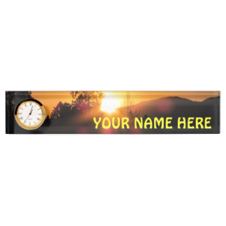 Bright Mountain Sunset with your name Name Plate