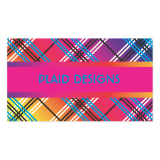 Bright Multi-Colored Plaid Business Card Templates