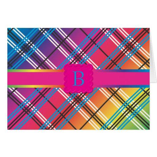 Bright Multi-Colored Plaid Card
