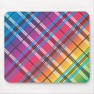 Bright Multi-Colored Plaid Mouse Pads