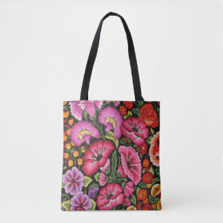 Bright multi coloured floral tote bag