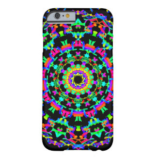 Bright Multicolored Kaleidoscope on Black Barely There iPhone 6 Case