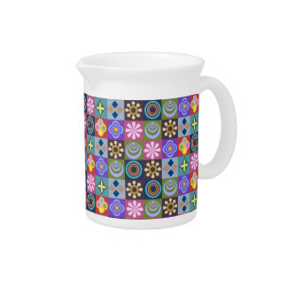 Bright Multicolored Patchwork Pattern Drink Pitcher