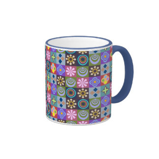 Bright Multicolored Patchwork Pattern Ringer Coffee Mug