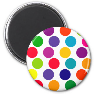 Bright Multicolored Polka Dots Pattern Magnet