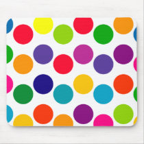 Bright Multicolored Polka Dots Pattern Mouse Pad