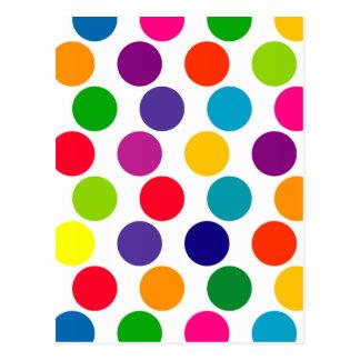 Bright Multicolored Polka Dots Pattern Postcard