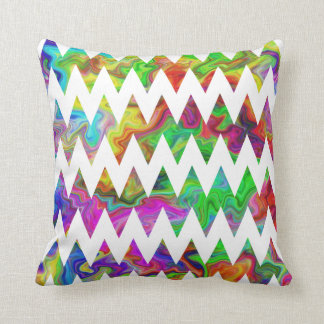 Bright Multicolored Zigzags. Throw Pillow