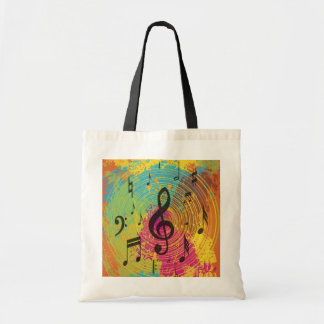 Bright Music Notes on Explosion of Color Budget Tote Bag