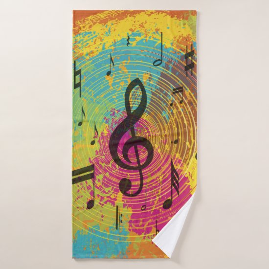 Bright Music Notes on Explosion of Color Bath Towel Set