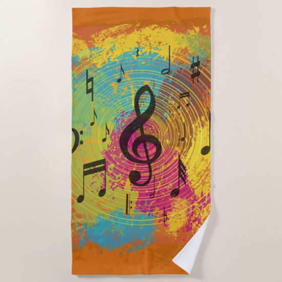 Bright Music Notes on Explosion of Color Beach Towel