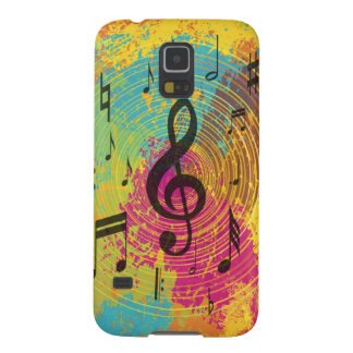Bright Music Notes on Explosion of Color Case For Galaxy S5