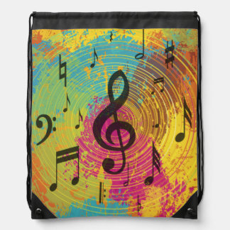 Bright Music Notes on Explosion of Color Drawstring Bag