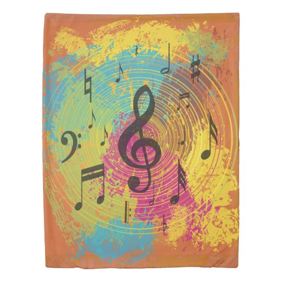 Bright Music Notes on Explosion of Color Duvet Cover