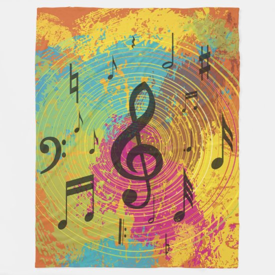 Bright Music Notes on Explosion of Color Fleece Blanket