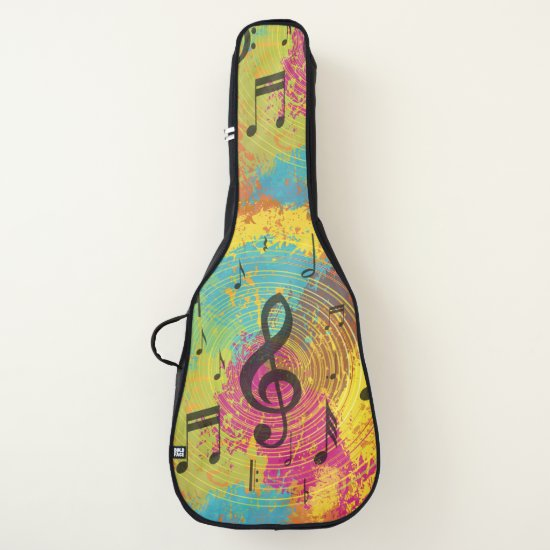 Bright Music Notes on Explosion of Color Guitar Case