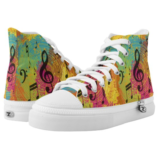 Bright Music Notes on Explosion of Color High-Top Sneakers