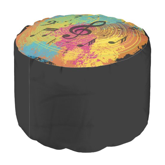 Bright Music Notes on Explosion of Color Pouf