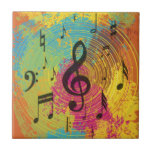 Bright Music Notes on Explosion of Color Small Square Tile