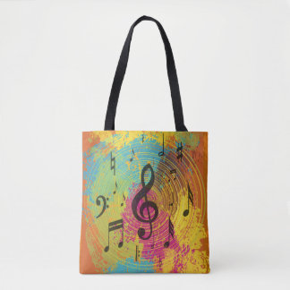 Bright Music Notes on Explosion of Color Tote Bag