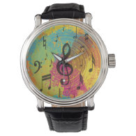 Bright Music Notes on Explosion of Color Watches