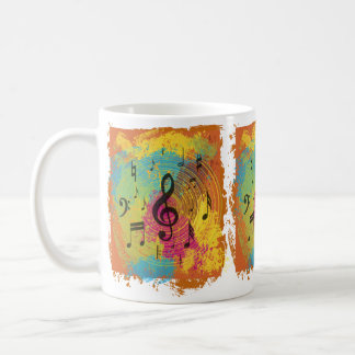 Bright Music notes on explosion of colour Coffee Mugs