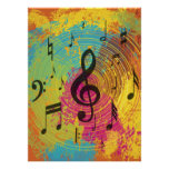 Bright Music notes on explosion of colour Posters