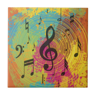 Bright Music notes on explosion of colour Tiles