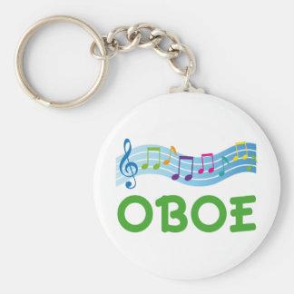 Bright Music Staff Oboe Gift Basic Round Button Keychain