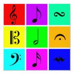 """bright music symbols 5.25"""" square invitation card"""