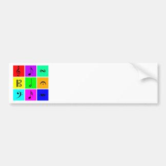 bright music symbols bumper sticker