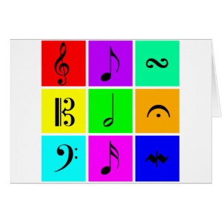 bright music symbols greeting card