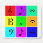 bright music symbols mousepads