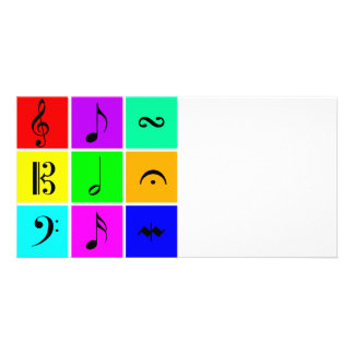 bright music symbols photo card
