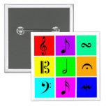 bright music symbols pinback button