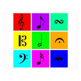 bright music symbols postcard