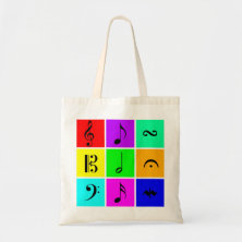 bright music symbols tote bags
